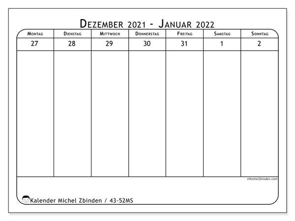 Kalender 2021, 43-52MS. Kostenloser Zeitplan zum ausdrucken.