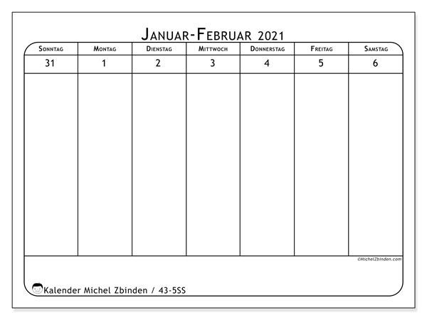 Kalender 2021, 43-5SS. Kostenlos ausdruckbare Zeitplan.