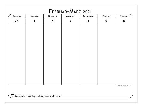 Kalender 2021, 43-9SS. Kostenloser Planer zum ausdrucken.