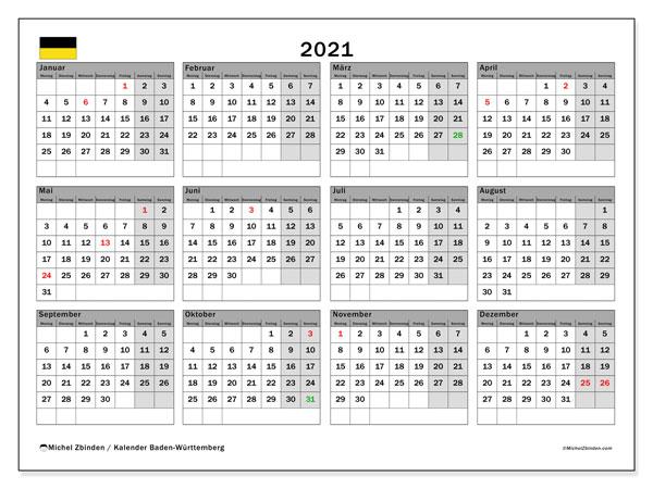 Kalender 2021, mit den Feiertagen in Baden-Württemberg. Kalender mit Feiertagen zum kostenlosen ausdrucken.
