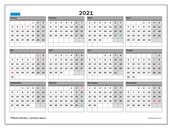 Kalender 2021, mit den Feiertagen von Bayern. Kalender mit Feiertagen zum kostenlosen ausdrucken.