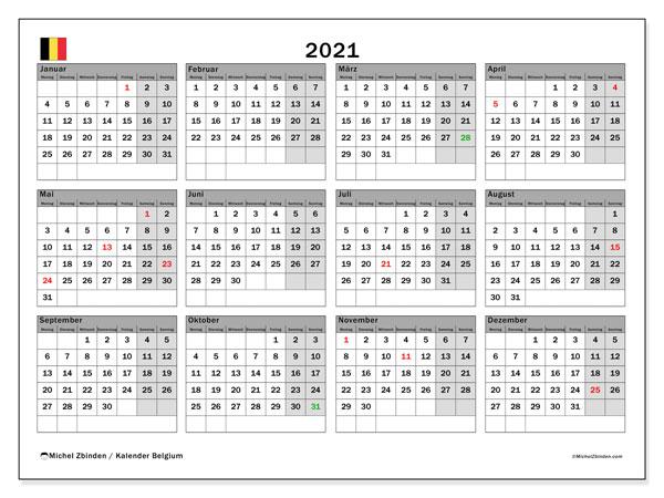 Kalender 2021, mit den Feiertagen von Belgien. Kalender mit Feiertagen zum kostenlosen ausdrucken.