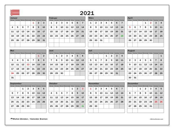 Kalender 2021, mit den Feiertagen in Bremen. Kalender mit Feiertagen zum kostenlosen ausdrucken.