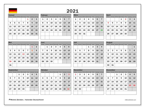 Kalender 2021, mit den Feiertagen Deutschlands. Kalender mit Feiertagen zum kostenlosen ausdrucken.