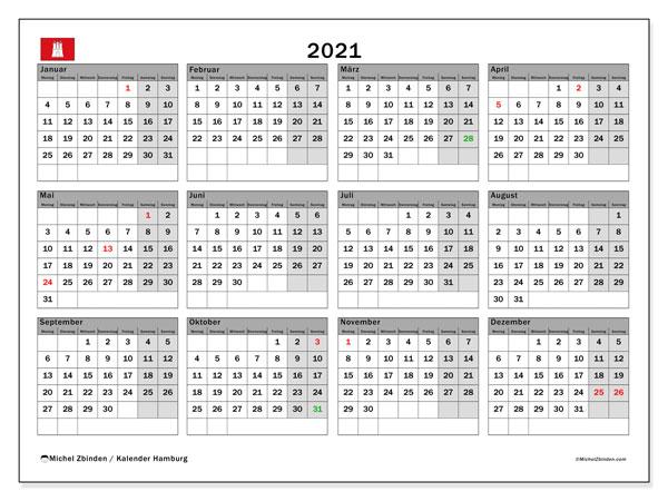 Kalender 2021, mit den Feiertagen in Hamburg. Kalender Feiertage frei zum ausdrucken.