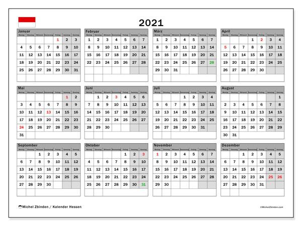 Kalender 2021, mit den Feiertagen in Hessen. Kalender Feiertage frei zum ausdrucken.