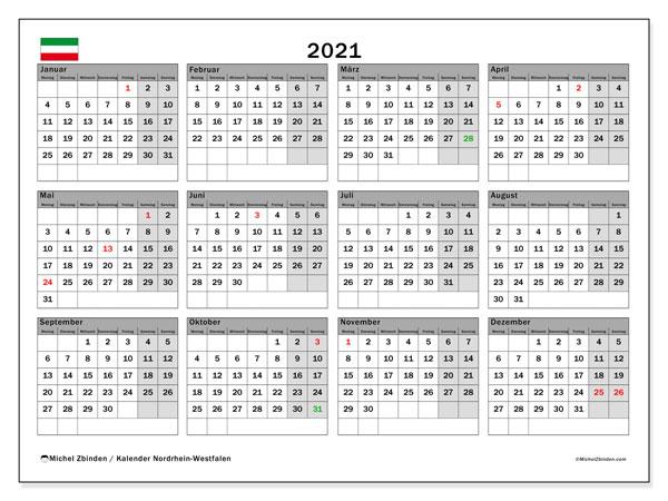 Kalender 2021, mit den Feiertagen in Nordrhein-Westfalen. Kalender mit Feiertagen zum kostenlosen ausdrucken.