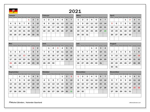 Kalender 2021, mit den Feiertagen des Saarlandes. Kalender Feiertage frei zum ausdrucken.