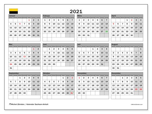 Kalender 2021, mit den Feiertagen in Sachsen-Anhalt. Kalender Feiertage frei zum ausdrucken.