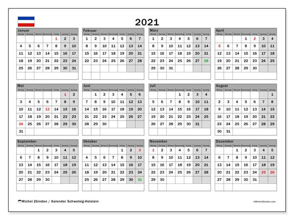 Kalender 2021, mit den Feiertagen in Schleswig-Holstein. Kalender mit Feiertagen zum kostenlosen ausdrucken.
