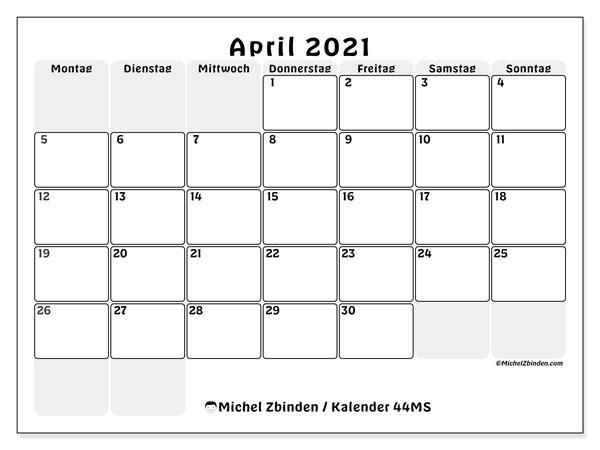 Kalender April 2021, 44MS. Monatlicher Kalender zum kostenlosen ausdrucken.