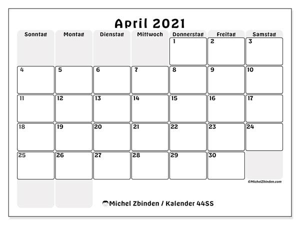Kalender April 2021, 44SS. Kostenloser Kalender zum ausdrucken.