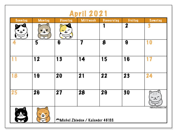 "Kalender ""481DS"" April 2021 zum ausdrucken - Michel Zbinden DE"