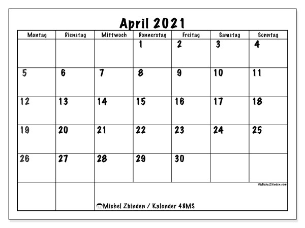 Kalender April 2021, 48MS. Monatskalender zum kostenlosen ausdrucken.