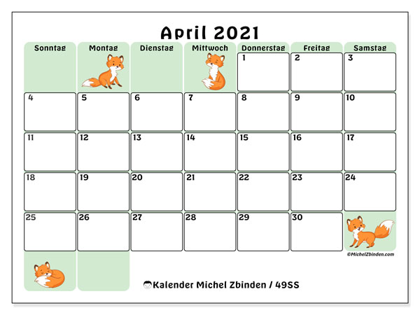 Kalender April 2021, 49SS. Kostenloser Kalender zum ausdrucken.