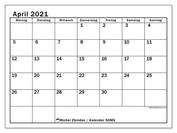 Kalender April 2021, 50MS. Kostenloser Zeitplan zum ausdrucken.