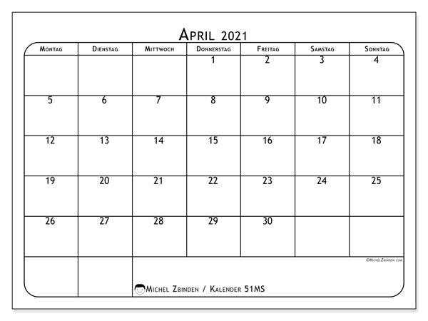 Kalender April 2021, 51MS. Monatlicher Kalender zum kostenlosen ausdrucken.