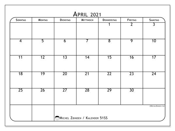 Kalender April 2021, 51SS. Monatskalender zum kostenlosen ausdrucken.