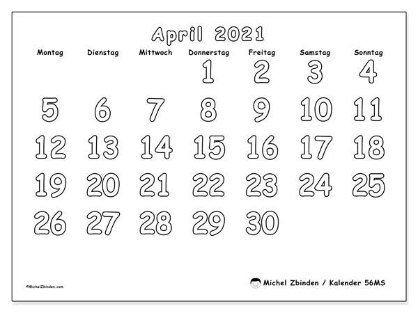 Kalender April 2021, 56MS. Monatskalender zum kostenlosen ausdrucken.
