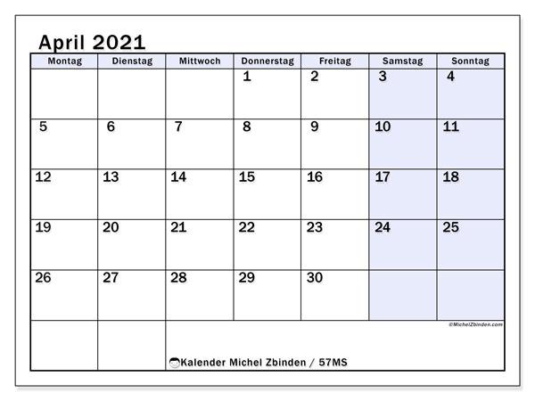 Kalender April 2021, 57MS. Kalender für den Monat zum kostenlosen ausdrucken.