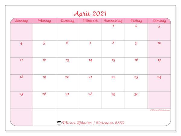 Kalender April 2021, 63SS. Monatskalender zum kostenlosen ausdrucken.