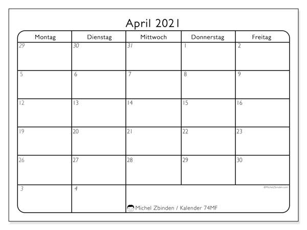 Kalender April 2021, 74SS. Monatlicher Kalender zum kostenlosen ausdrucken.