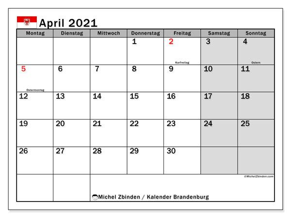 Kalender April 2021, mit den Feiertagen in Brandenburg. Kalender Feiertage frei zum ausdrucken.
