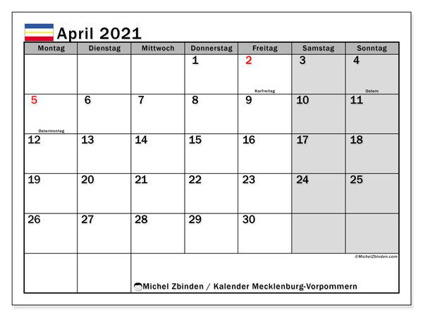 Kalender April 2021, mit den Feiertagen in Mecklenburg-Vorpommern. Kalender mit Feiertagen zum kostenlosen ausdrucken.