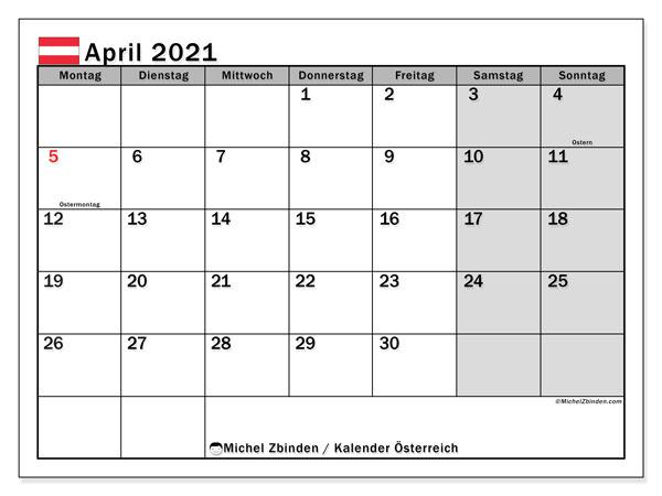 Kalender April 2021, mit den Feiertagen von Österreich. Kalender Feiertage frei zum ausdrucken.