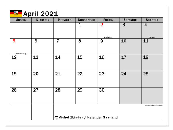 Kalender April 2021, mit den Feiertagen des Saarlandes. Kalender mit Feiertagen zum kostenlosen ausdrucken.