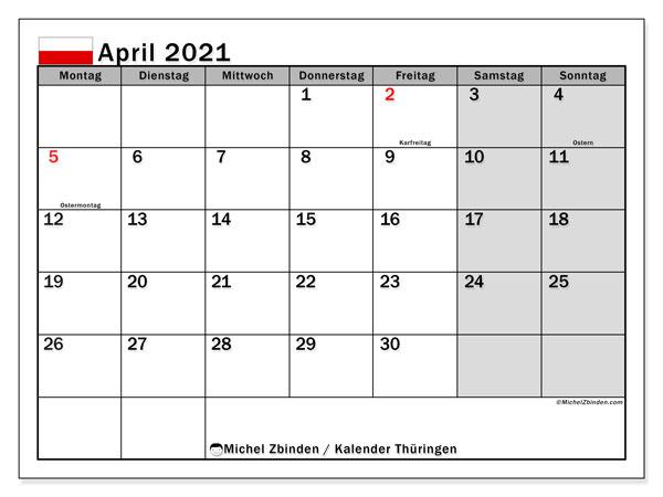 Kalender April 2021, mit den Feiertagen in Thüringen. Kalender Feiertage frei zum ausdrucken.