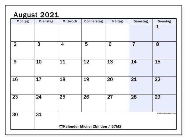 Kalender August 2021, 57MS. Kalender für den Monat zum kostenlosen ausdrucken.