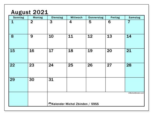 Kalender August 2021, 59SS. Kostenlos ausdruckbare Zeitplan.