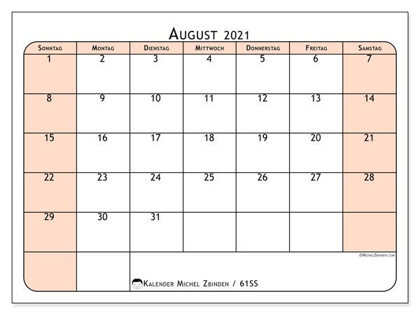 Kalender August 2021, 61SS. Kostenlos ausdruckbare Kalender.