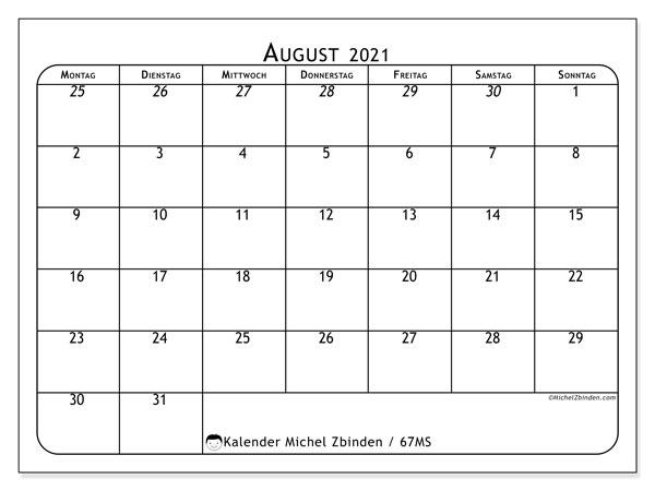 Kalender August 2021, 67MS. Zeitplan zum kostenlosen ausdrucken.