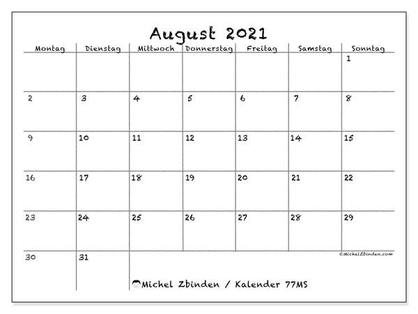 Kalender August 2021, 77MS. Kalender für den Monat zum kostenlosen ausdrucken.