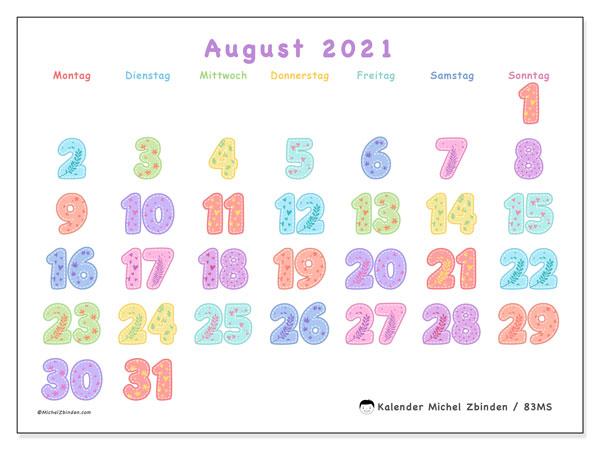 Kalender August 2021, 83MS. Monatlicher Zeitplan zum kostenlosen ausdrucken.