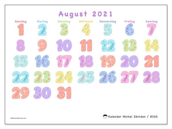 Kalender August 2021, 83SS. Kostenlos ausdruckbare Planer.
