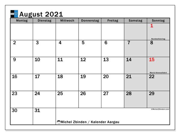 Kalender August 2021, mit den Feiertagen des Kantons Aargau. Kalender mit Feiertagen zum kostenlosen ausdrucken.