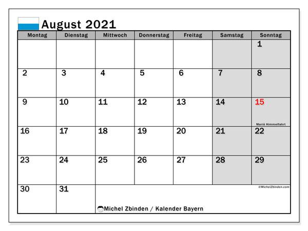 Kalender August 2021, mit den Feiertagen von Bayern. Kalender Feiertage frei zum ausdrucken.