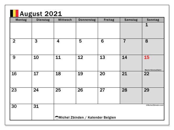 Kalender August 2021, mit den Feiertagen von Belgien. Kalender mit Feiertagen zum kostenlosen ausdrucken.