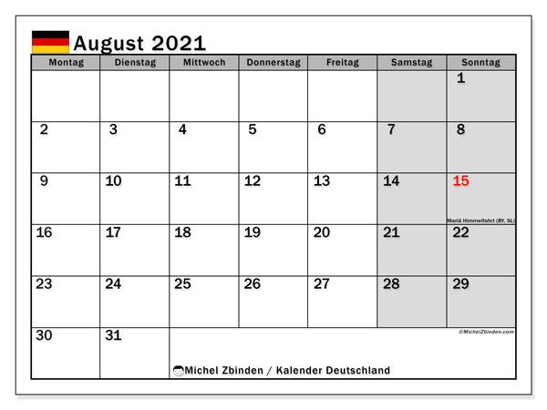 Kalender August 2021, mit den Feiertagen Deutschlands. Kalender mit Feiertagen zum kostenlosen ausdrucken.