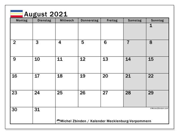 Kalender August 2021, mit den Feiertagen in Mecklenburg-Vorpommern. Kalender mit Feiertagen zum kostenlosen ausdrucken.