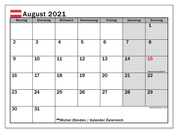 Kalender August 2021, mit den Feiertagen von Österreich. Kalender mit Feiertagen zum kostenlosen ausdrucken.