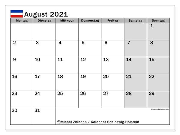 Kalender August 2021, mit den Feiertagen in Schleswig-Holstein. Kalender mit Feiertagen zum kostenlosen ausdrucken.