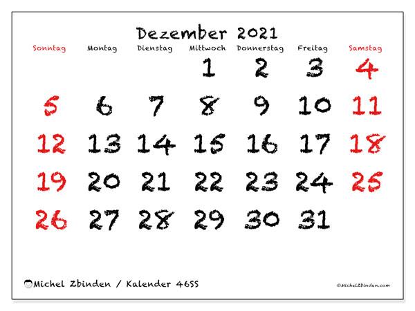 Kalender Dezember 2021, 46SS. Kostenlos ausdruckbare Kalender.