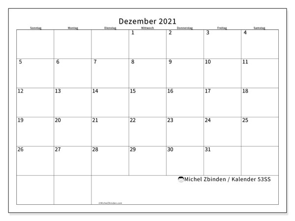Kalender Dezember 2021, 53SS. Kostenloser Kalender zum ausdrucken.