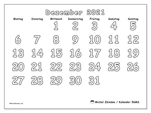 Kalender Dezember 2021, 56MS. Kalender für den Monat zum kostenlosen ausdrucken.