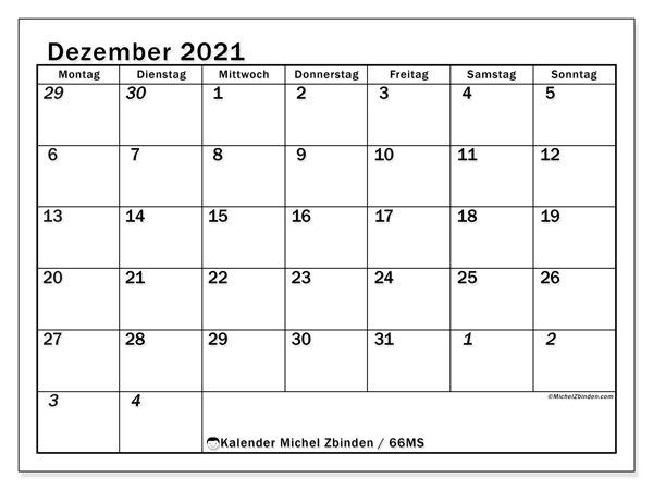 Kalender Dezember 2021, 66MS. Monatskalender zum kostenlosen ausdrucken.