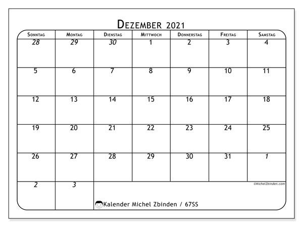 Kalender Dezember 2021, 67SS. Zeitplan zum kostenlosen ausdrucken.